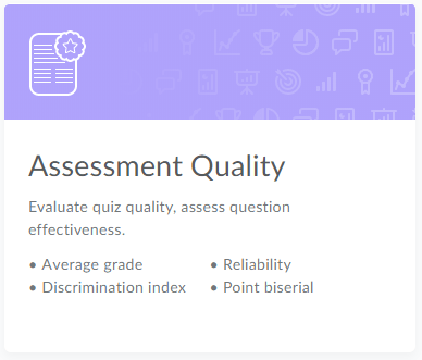 Assessment Quality card in CourseLink