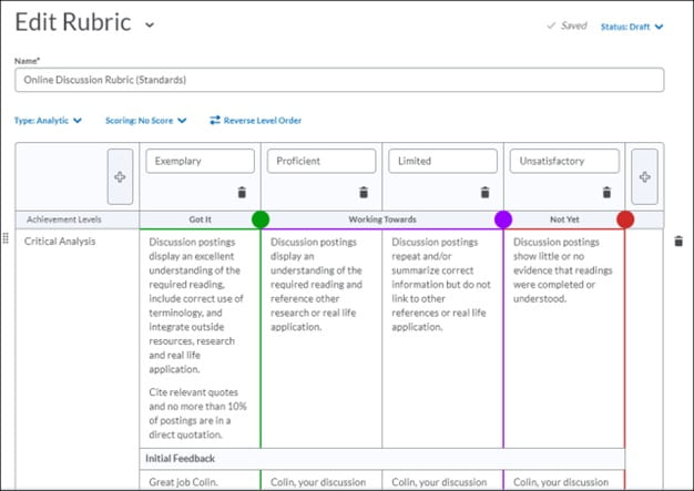 Rubrics dialog enabling instructors to adjust the outcomes mapped to rubric levels