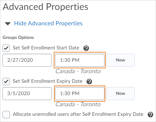 Set exact time when enrollment opens and expires