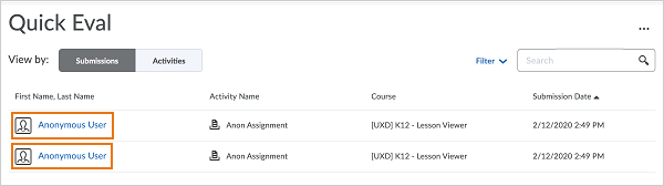Learner names and profile images are hidden in Quick Eval Submissions view