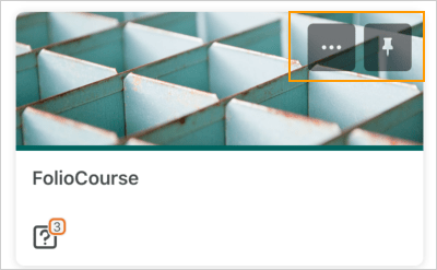 The Courses screen displaying a pinned course tile with the ellipses (...) icon and pin icon