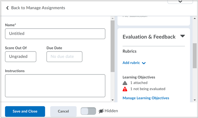 The create and edit Assignments page with the Manage Learning Objectives functionality and warning