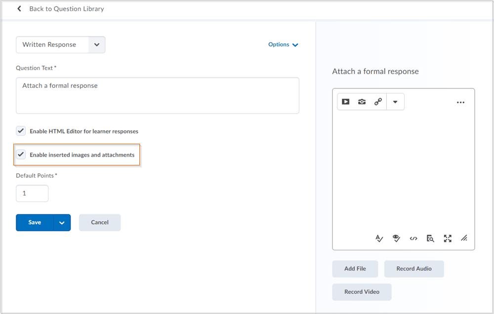 The updated Written Response question creation screen