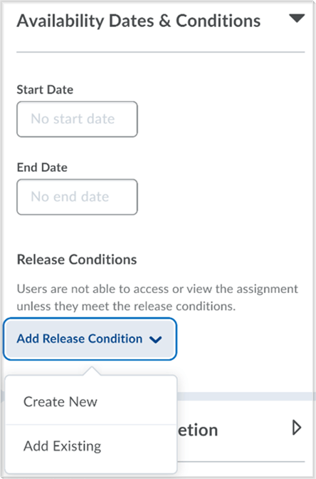 The create and edit Dropbox page with the Release Conditions functionality