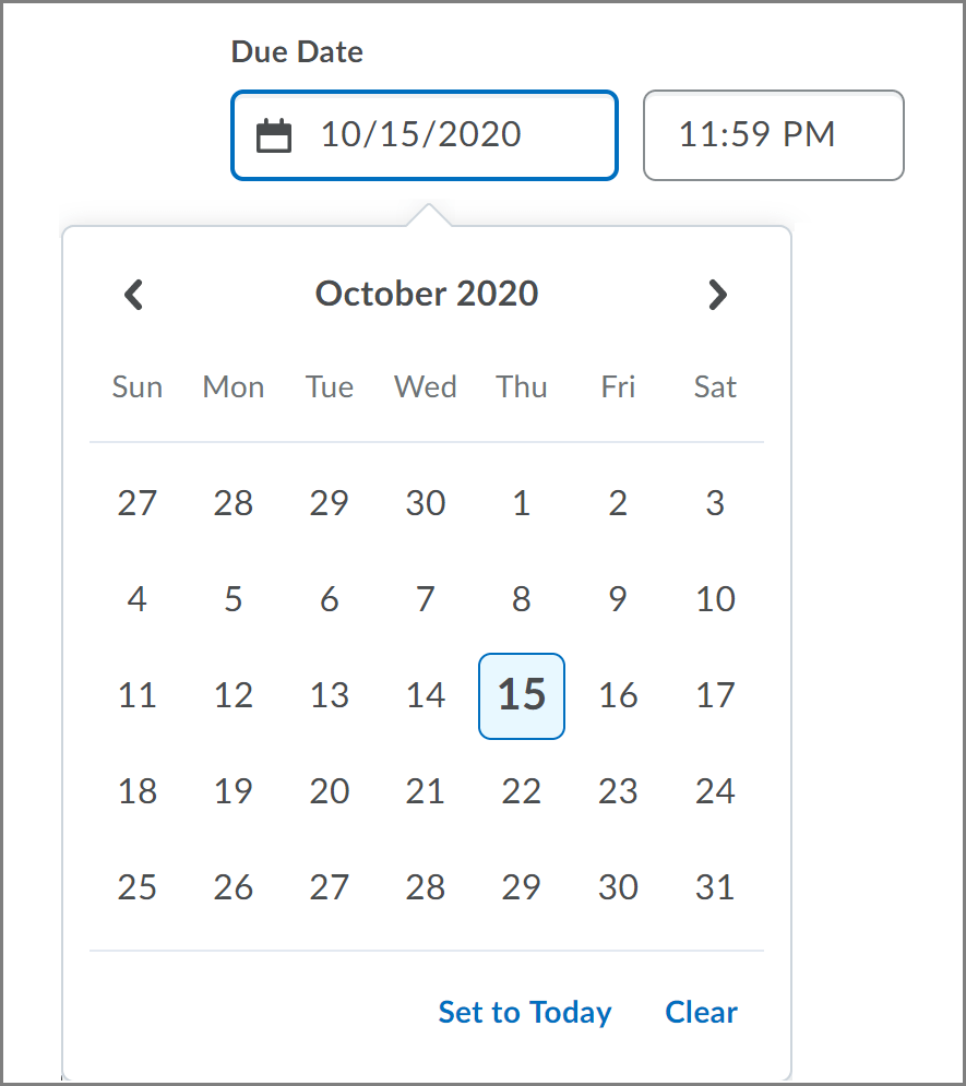 New date picker component on the Create and Edit Dropbox page.