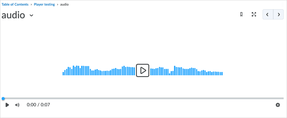 The new audio player appears in Content