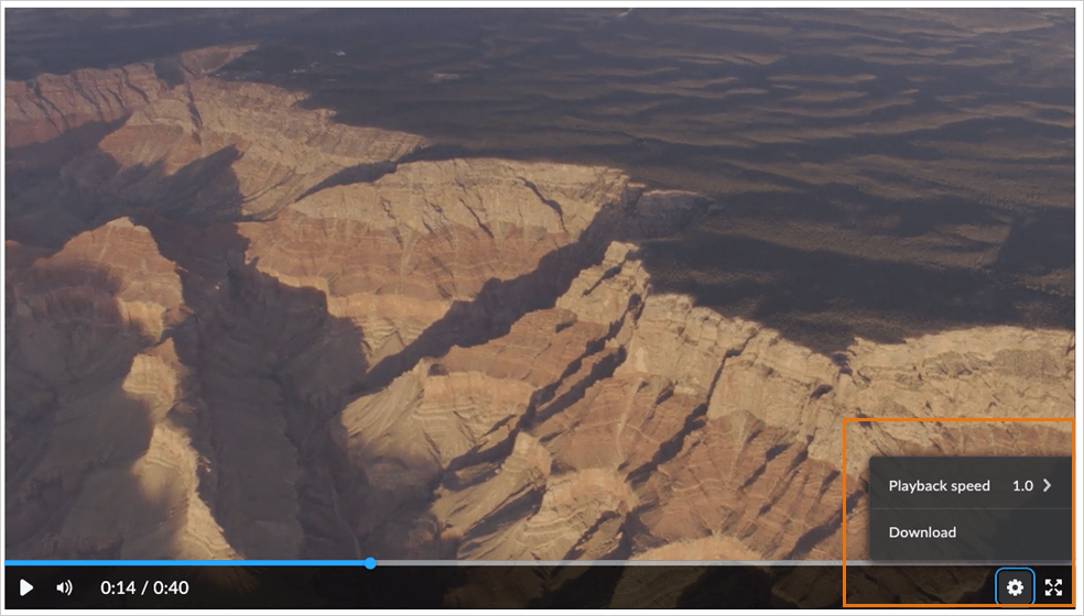 The new video player in Content showing the playback speed option.