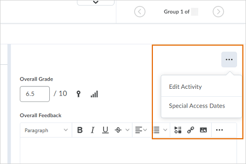 The new context menu appears when grading a submission in the New Dropbox Evaluation Experience.