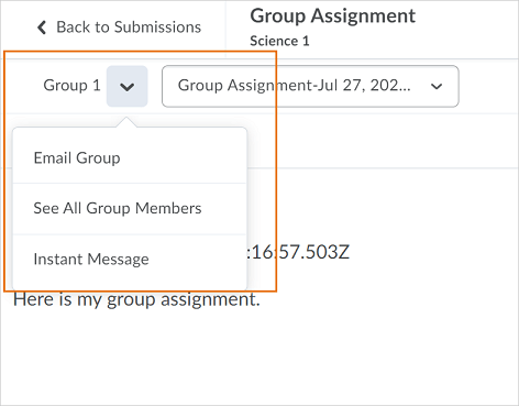 The drop-down action menu appears from the Group Name on the File Submission page in Dropbox.