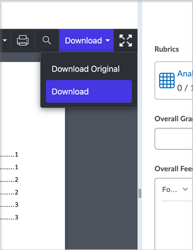 The Annotations viewer with the Download drop-down menu