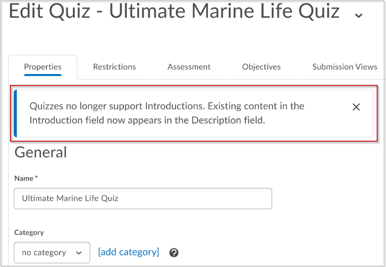 The Edit Quiz page with the message that appears when you edit a quiz containing an introduction