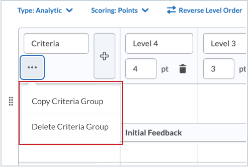 The Copy and Delete options are available in the action menu on the Criteria Group header.