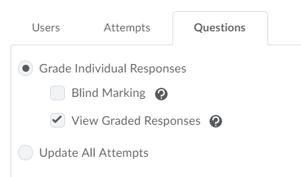 The Quizzes blind marking option in CourseLink